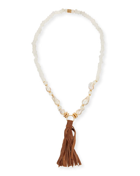 Akola Long Pearl & Java Glass Tassel Necklace