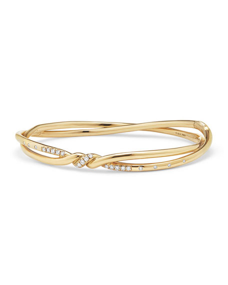 Image 1 of 3: David Yurman Continuance Twisted 18K Bracelet with Diamonds