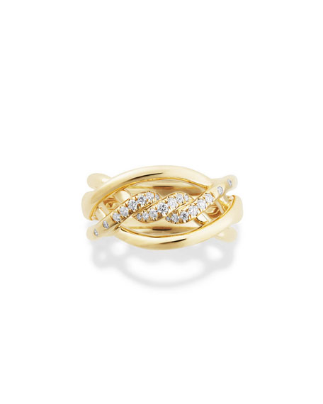 David Yurman 11.5mm Continuance 18K Ring with Diamonds, Size 7