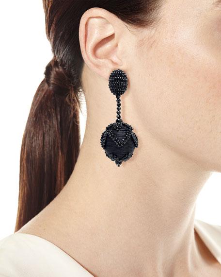 Beaded Chevron Ball Drop Clip-On Earrings