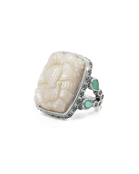 Carved Mother-of-Pearl & Green Quartz Ring