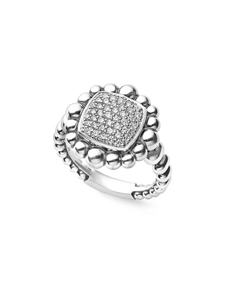 LAGOS Sterling Silver Extra-Large Caviar Spark Ring with Diamonds, 0.41 tdcw, Size 7