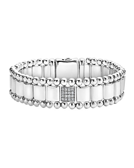 Lagos 15mm Caviar Spark Bracelet with Three Diamond Stations 0YojZmek