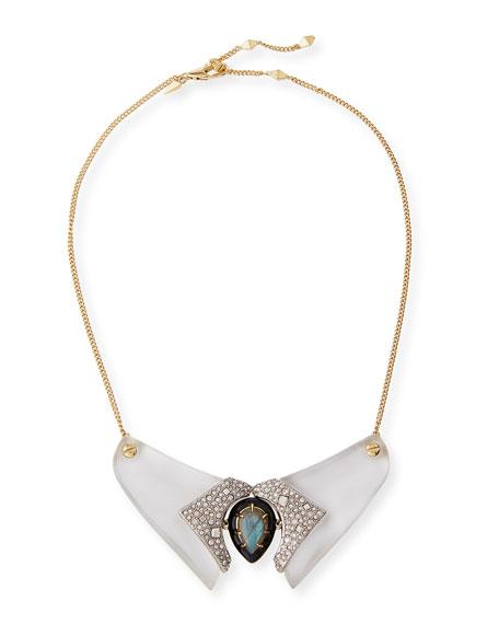 Lucite Crystal Collar Necklace, Silvertone/Golden