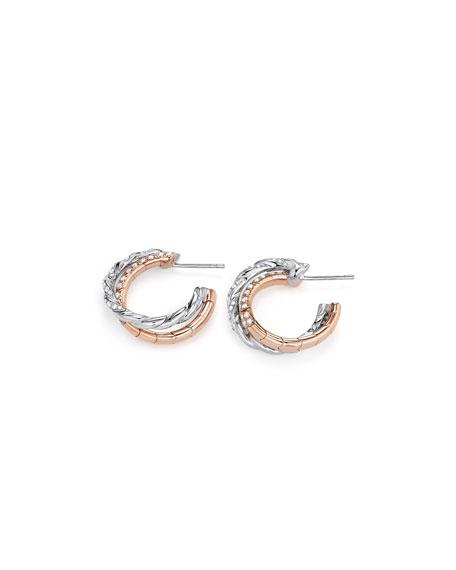 David Yurman Paveflex 18K White & Rose Gold Hoop Earrings with Diamonds