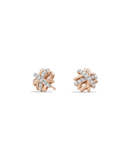 1mm Crossover 18K Rose Gold Earrings with Diamonds