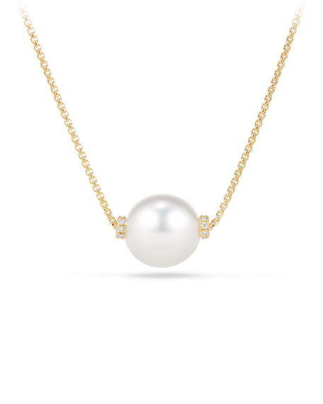 David Yurman Solari 12mm South Sea Pearl Station Necklace with Diamonds