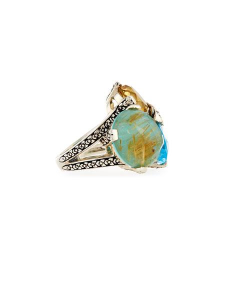 Rutilated Quartz, Turquoise, Topaz & Citrine Ring