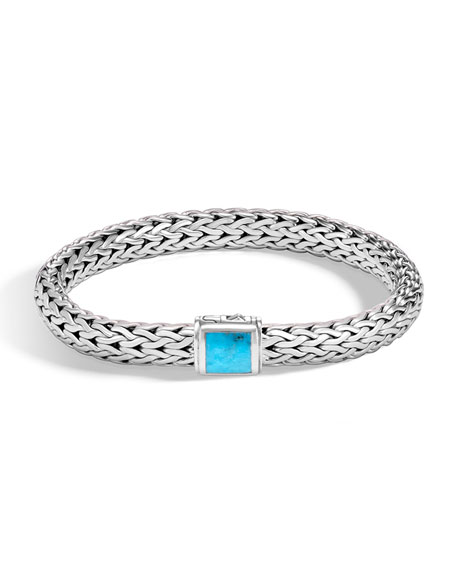 Classic Chain Medium Pusher Clasp Bracelet with Turquoise