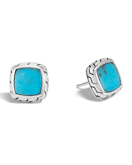 John Hardy Classic Chain Turquoise Stud Earrings