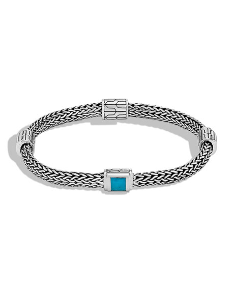 John Hardy Clic Chain Extra Small Four Station Bracelet With Turquoise