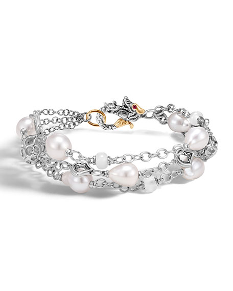 Legends Naga Silver Baroque Pearl Three-Row Bracelet