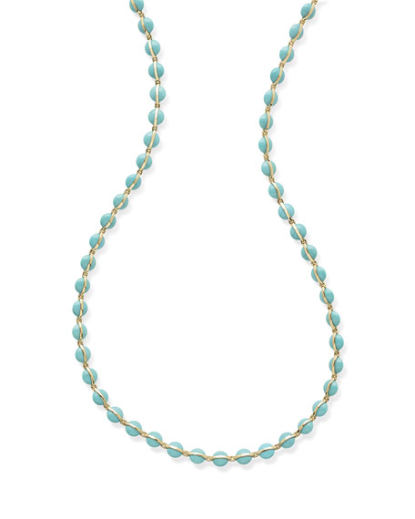 """18K Senso™ Metal-Wrapped Turquoise Necklace, 40"""""""