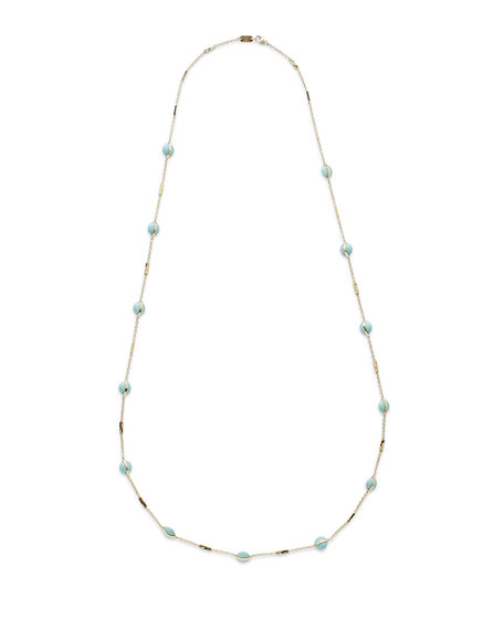 """18K Senso™ Metal-Wrapped Turquoise Necklace, 37"""""""