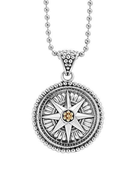 Signature Caviar Compass Necklace