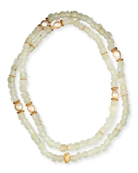 Long Java Glass & Horn Necklace, 44""