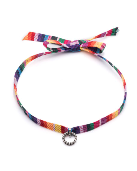 Dannijo Verena Striped Choker Necklace w/Crystal Charm
