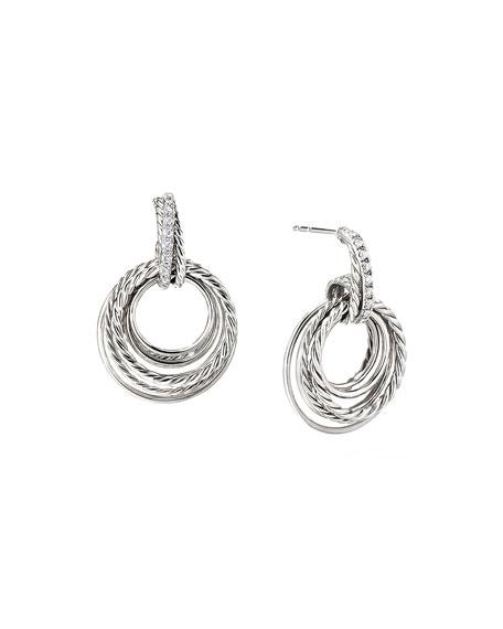 David Yurman Crossover Doorknocker Hoop Earrings with Diamonds