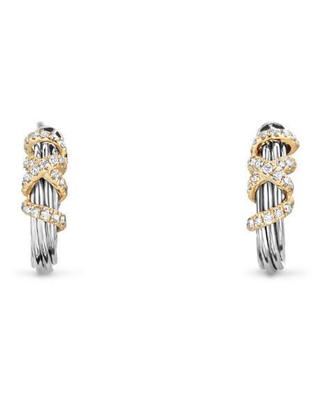 David Yurman Helena Small Diamond Wrap Hoop Earrings