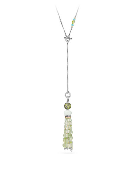 David Yurman Mustique Chrysoprase & Peridot Tassel Necklace