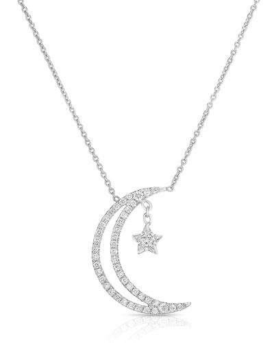 18k Half Moon & Star Pendant Necklace w/ Diamonds