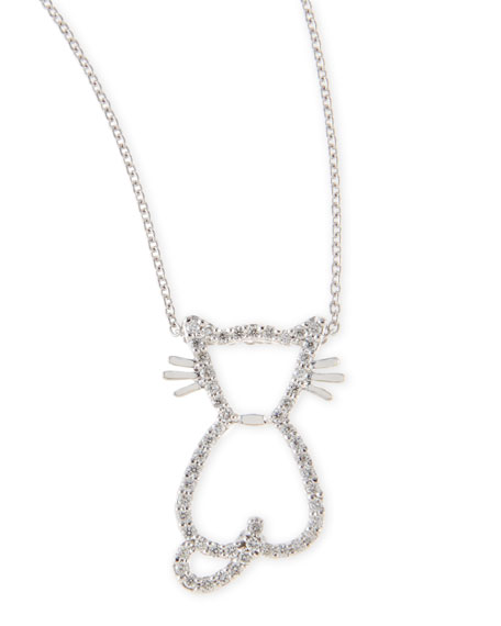 Pave Diamond Cat Pendant Necklace