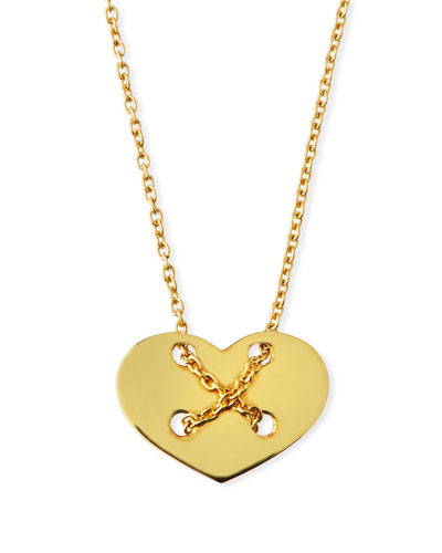 18k Yellow Gold Crisscross Heart Necklace