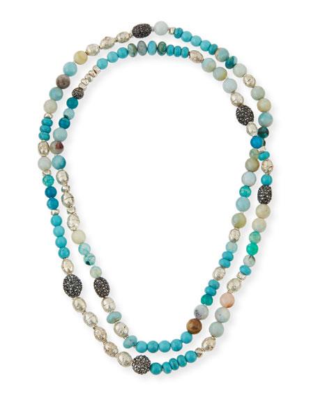 Hipchik Liza Long Beaded Turquoise Necklace