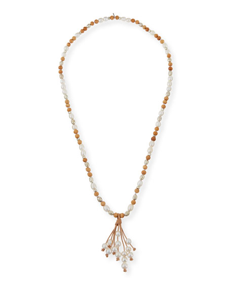Hipchik Georgia Pearly Leather Tassel Necklace