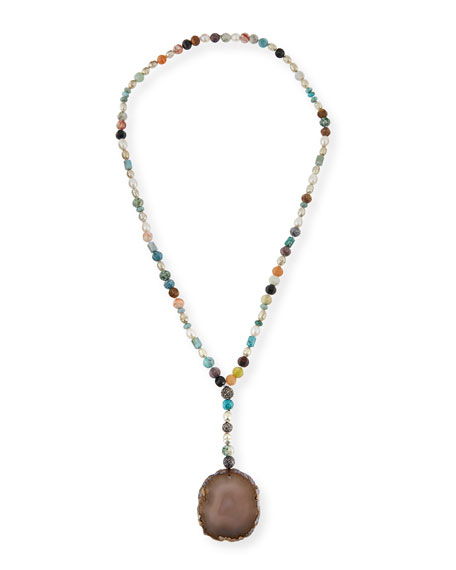 Hipchik Imogen Beaded Agate Pendant Necklace