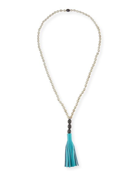Hipchik Rachel Leather Tassel Pendant Necklace