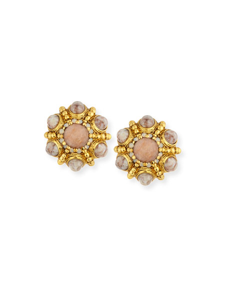 Jose & Maria Barrera Cabochon Beaded Button Clip