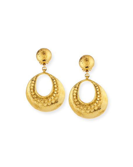 Jose & Maria Barrera Hammered Open Hoop Drop Clip Earrings ...