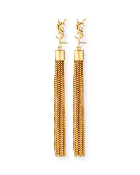 Monogram Small Tassel Chain Earrings