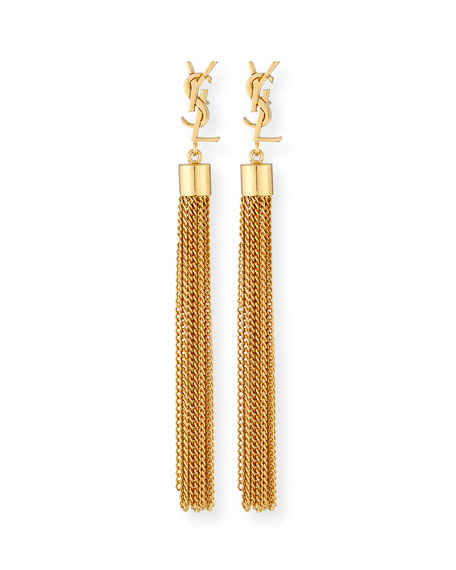 Monogram YSL Small Tassel Chain Earrings