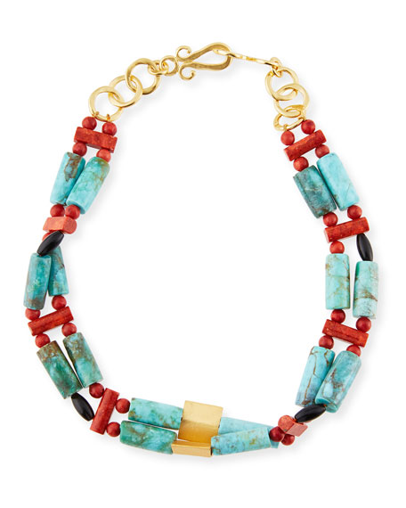 Stephanie Kantis Turquoise & Coral Beaded Necklace
