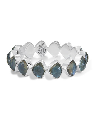 Faceted Aqua Quartz & Mother-of-Pearl Doublet Bracelet