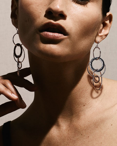 Image 2 of 2: Ippolita 925 Classico Mixed Large Hammered Link Jet Set Earrings