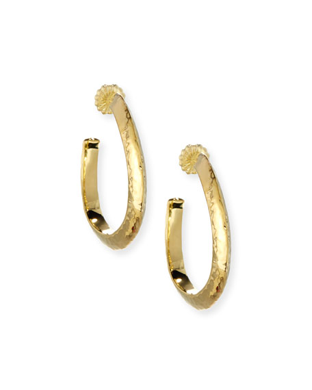 Ippolita 18K Classico Medium Hammered Wavy Hoop Earrings