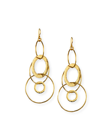 18K Classico Mixed Large Hammered Link Jet Set Earrings