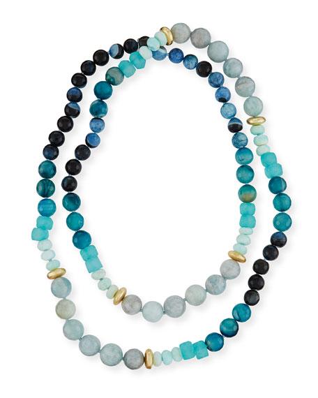 Akola Long Agate, Amazonite & Sea Glass Necklace