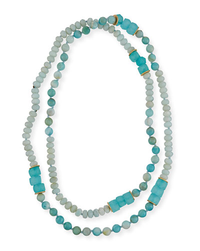 Long Amazonite, Agate & Sea Glass Necklace