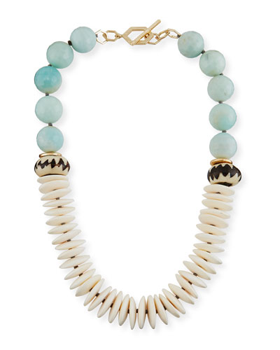 Short Bone & Amazonite Beaded Necklace
