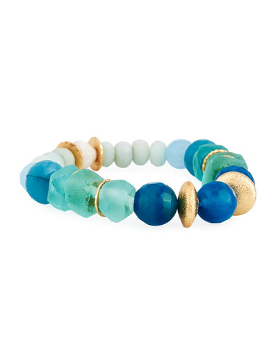 Blue Agate, Bone & Sea Glass Bracelet