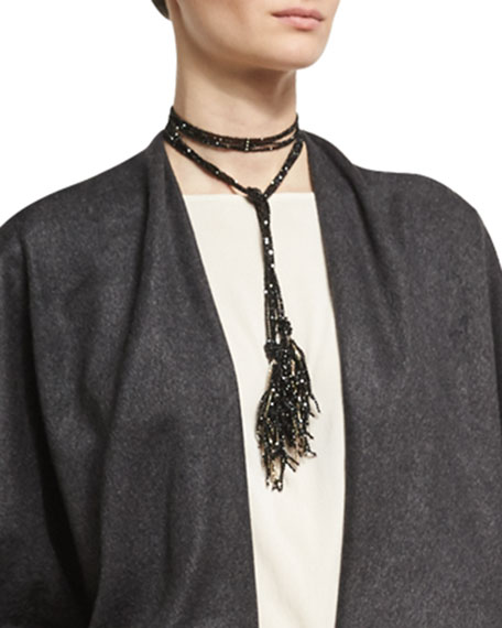 Agate & Monili Beaded Tassel Lariat Necklace, Black/Gold