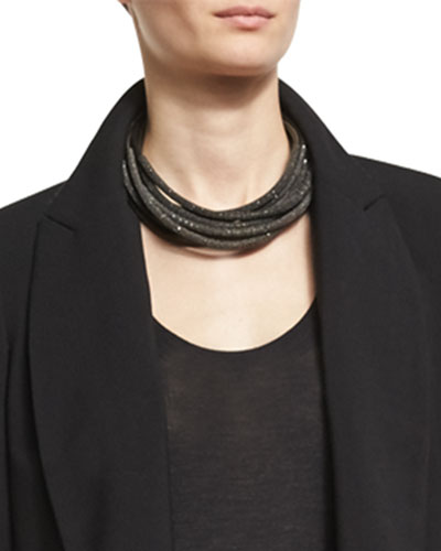 Monili & Metallic Leather Coil Necklace