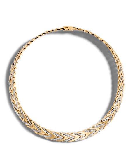 John Hardy Modern Chain Medium 18K Gold Necklace with Diamonds