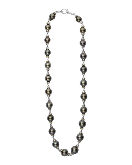 Luna Sterling Silver Tahitian Pearl Necklace, 18""