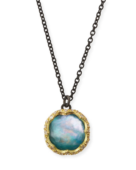 Old World Peruvian Opal Triplet Necklace with Diamonds