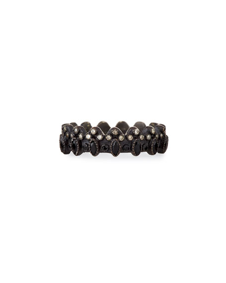 New World Blackened Scalloped Ring with Diamonds & Black Sapphires
